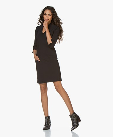 LaDress Sade Travel Jersey V-neck Dress - Black