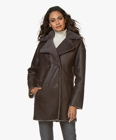Repeat Luxury Reversible Shearling  Jas - Shadow