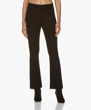 no man's land Jersey Pants with Velvet Pattern -  Black