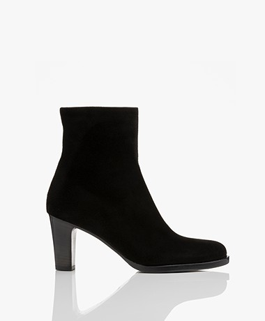 Panara Suede Ankle Boots with Heel - Black
