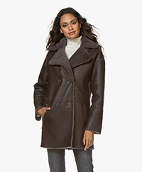 Repeat Luxury Reversible Shearling Coat - Shadow