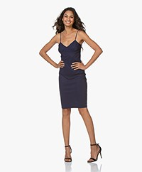 LaDress Mythical Travel Jersey Jurk met Spaghettibandjes - Navy