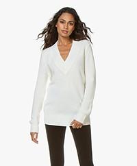 Repeat Long Wool V-neck Sweater - Cream