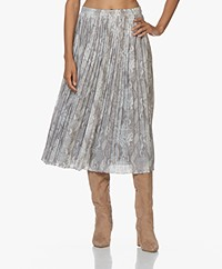 Repeat Slangenprint Midi Rok - Off-white/Grijs