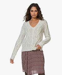 Majestic Filatures V-neck Cable Knit Sweater - Light Grey Melange