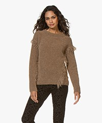 no man's land Fringe Sweater with Mohair - Sandelwood