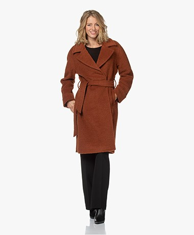 Denham Aoki Textured Wool Blend Coat - Cognac