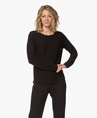 no man's land Cotton Garter Stitch Rib Sweater - Black