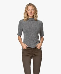 no man's land Seamless Funnel Neck Sweater with Lurex - Steel