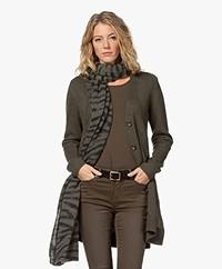 Repeat Cashmere Zebra Print Scarf - Khaki/Black