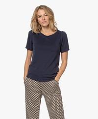 Plein Publique La Poppy Modalmix Piqué T-shirt - Darkblue