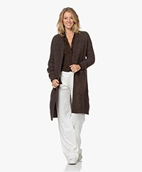 no man's land Long Open Mohair Blend Cardigan - Espresso