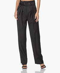 IRO Popineta Belted Wool Pants - Anthracite