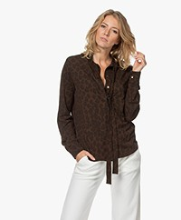 Majestic Filatures Jersey Blouse met Print - Coffee