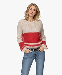 by-bar Evi Astro Intarsia Mohairmix Trui - Off-white/Rood