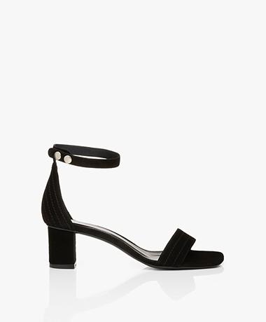 Filippa K Belinda Mid Heel Sandalen - Zwart Suède