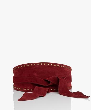 ba&sh Cloe Suede Tie Belt with Studs - Burgundy