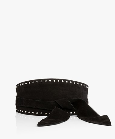 ba&sh Cloe Suede Tie Belt with Studs - Black