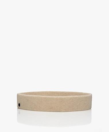 extreme cashmere N°132 Fijn Gebreide Elastische Cashmere Tailleriem - Latte