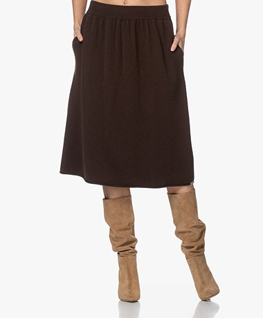 extreme cashmere N°159 Fifty Cashmeremix Rok - Donkerbruin