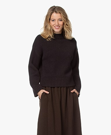 extreme cashmere N°163 Ken Cashmere Mock Trui - Donkerbruin