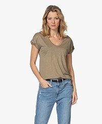 Closed Lyocell Mix U-hals T-shirt - Green Umber