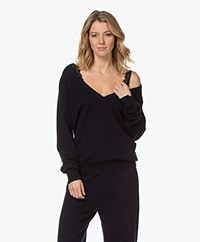 extreme cashmere N°38 Be Low Cashmere V-neck Sweater - Navy