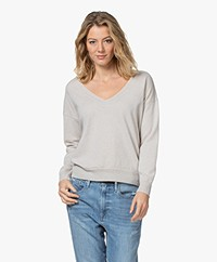 no man's land Lurex Wool Blend V-neck Sweater - Oak