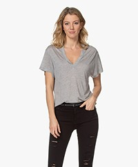IRO Ramaza Modalmix V-hals T-shirt - Grijs Mêlee