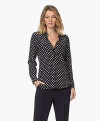 Equipment Slim Signature Zijden Polkadot Blouse - Eclipse/Bright White