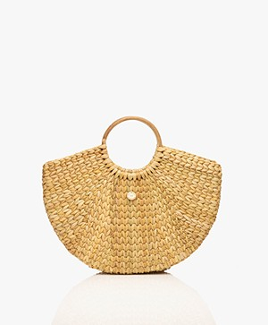 MKT Studio Woven Straw Basket Handtas - Naturel