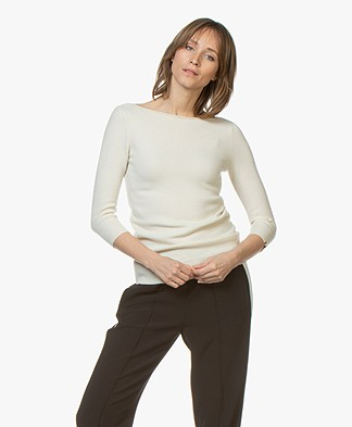 extreme cashmere N°76 Sweet Cropped Sleeve Sweater - Cream
