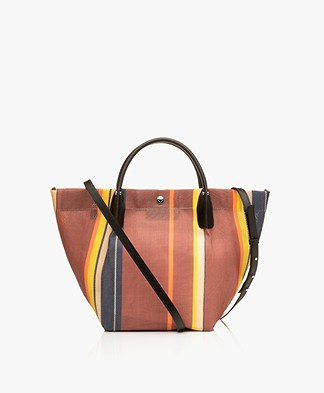By Malene Birger Striped Mesh Shopper - Red Clay