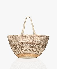 indi & cold Braided Jute Print Shopper - Berenjena