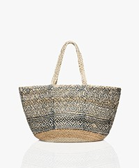 indi & cold Braided Jute Print Shopper - Indigo