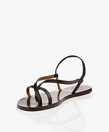 ATP Atelier Vacchetta Lizza Leather Sandals - Black