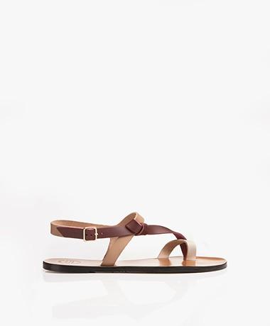 ATP Atelier Arona Tri-tone Leather Sandals - Almond/Brunello/Ice White Vacchetta