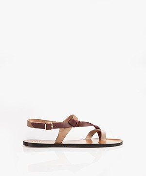 ATP Atelier Arona Tri-tone Leather Sandals - Almond/Brunello/Ice White Vacchetta