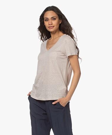 Repeat Linen V- neck T-shirt - Beige