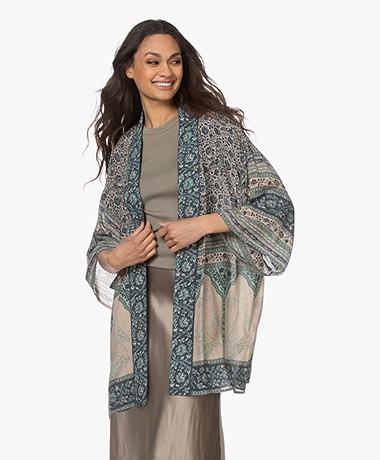 ba&sh Toam Viscose Print Kimono - Vertdeau