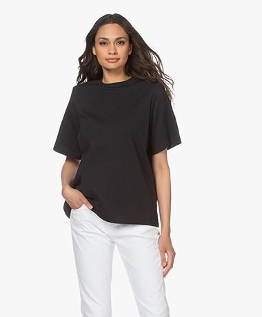 Les Coyotes de Paris Lela T-shirt met Schoudervulling - Zwart