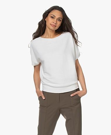 no man's land Cotton Short Sleeve Sweater - White