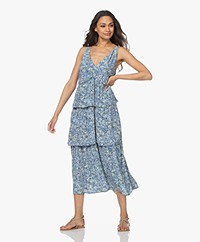 indi & cold Printed Viscose Midi Dress - Blue/Multi