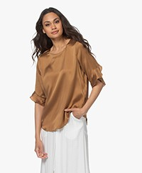 no man's land Washed Silk Ruffles Blouse - Toffee