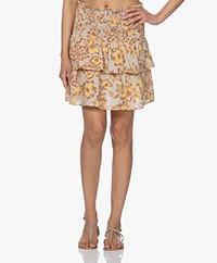 Les Coyotes de Paris Davey Printed Linen Tiered Skirt - Painted Floral Print