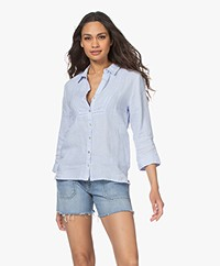 Belluna Bess Embroidered Linen Blouse - Ciel