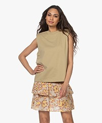 Les Coyotes de Paris Devon Shoulder Padded Top - Khaki Beige