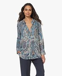 ba&sh Blake Paisley Viscose Shirt - Blue/Multi