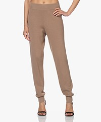 By Malene Birger Thusa Gebreide Pull-on Jogger Broek - Golden Beige