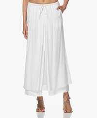 no man's land Layered Viscose Blend Maxi Skirt - Ivory